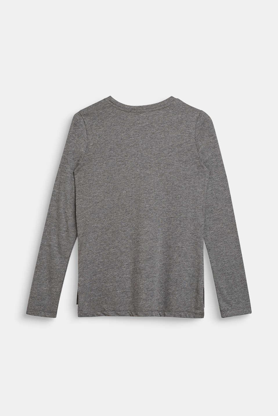 Melange long sleeve top with a foil print, LCDARK HEATHER G, detail image number 1