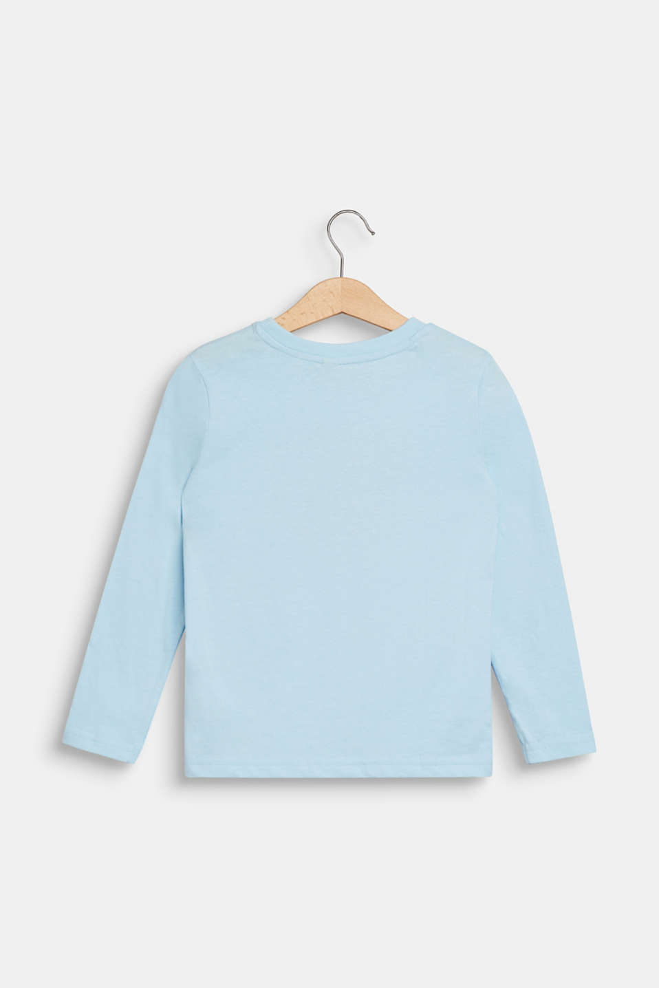 Long sleeve top with a bear print, 100% cotton, ICE BLUE, detail image number 1
