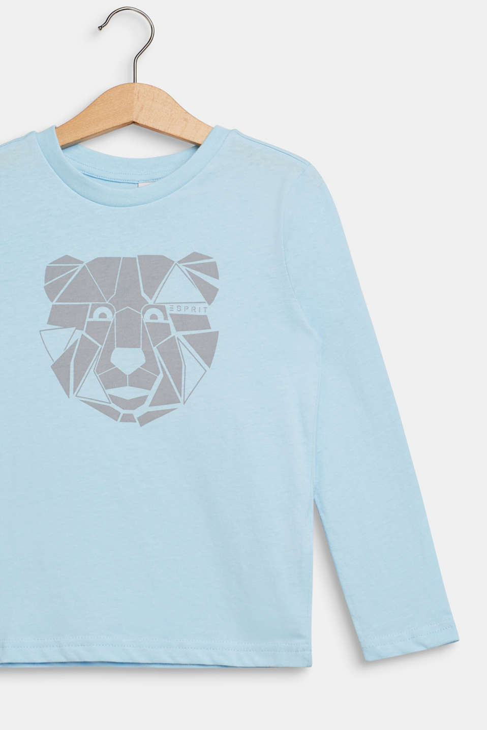 Long sleeve top with a bear print, 100% cotton, ICE BLUE, detail image number 2