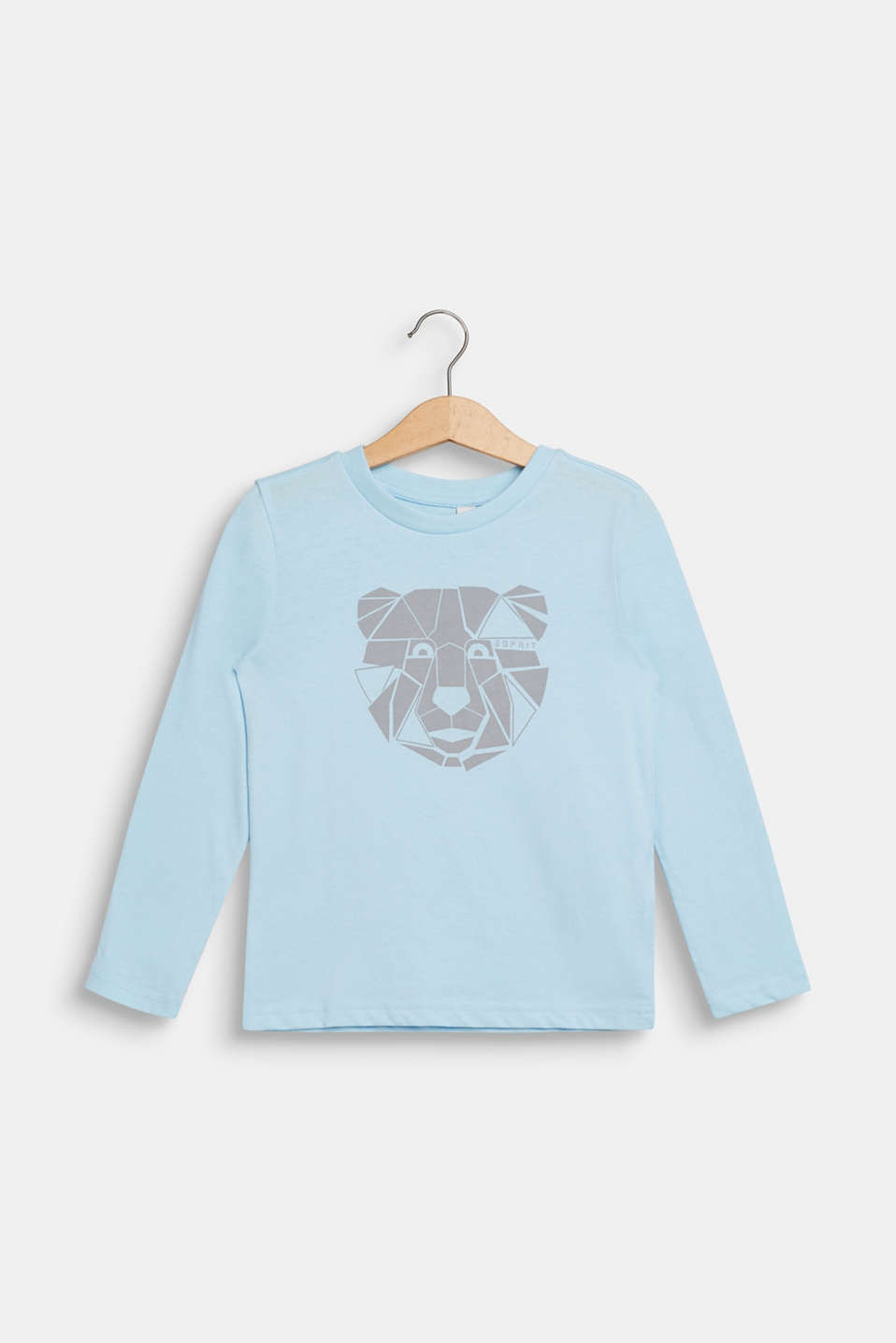 Esprit - Long sleeve top with a bear print, 100% cotton