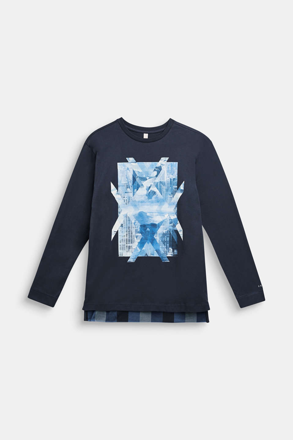 Long sleeve top made of 100% cotton, LCMIDNIGHT BLUE, detail image number 0