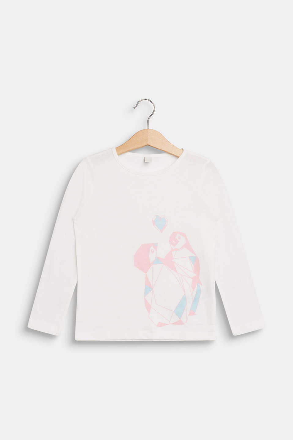 Long sleeve top with a penguin print, 100% cotton, OFF WHITE, detail image number 0