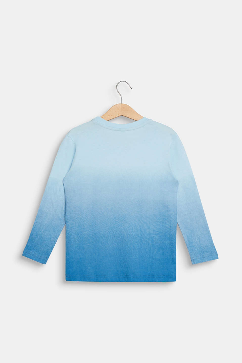 Graduated colour long sleeve top, 100% cotton, ICE BLUE, detail image number 1