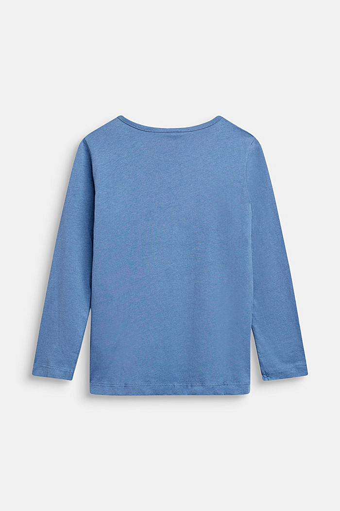 Maglia a maniche lunghe con stampa lucida, 100% cotone, DUSK BLUE, detail image number 1