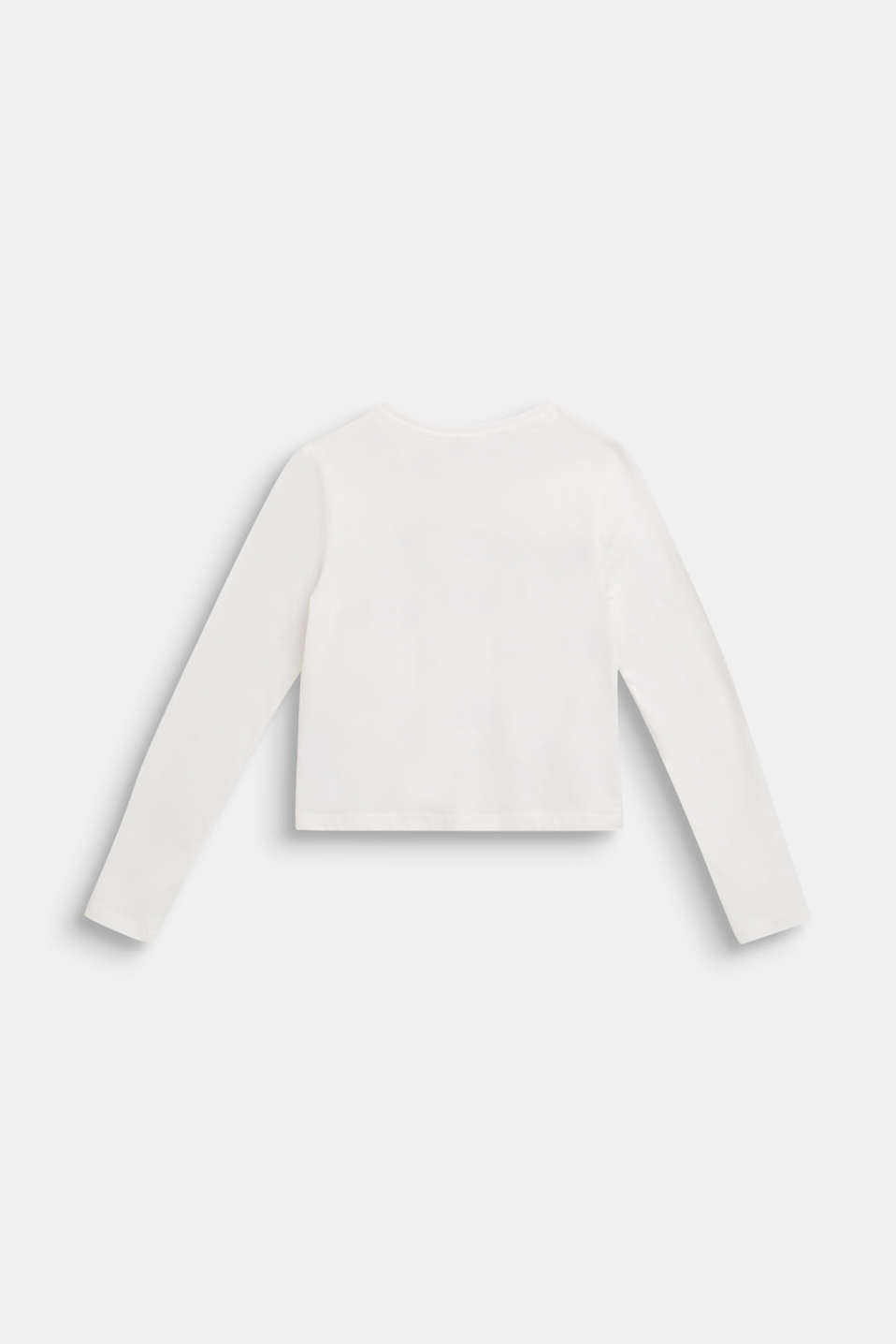 Winter printed long sleeve top, 100% cotton, LCOFF WHITE, detail image number 1