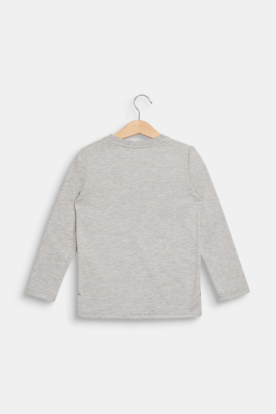 Long sleeve top with a sequinned statement print, HEATHER SILVER, detail image number 1