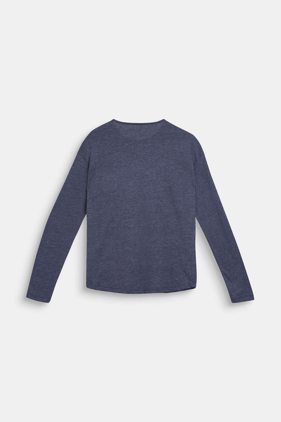 Melange long sleeve top with a shiny pocket, LCMIDNIGHT BLUE, detail image number 1