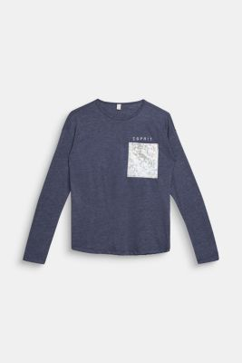 Melange long sleeve top with a shiny pocket, LCMIDNIGHT BLUE, detail