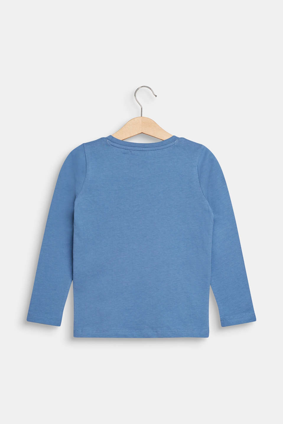 Long sleeve top with reversible sequins, 100% cotton, DUSK BLUE, detail image number 1