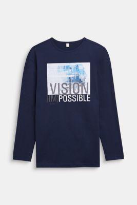 Printed long sleeve top, 100% cotton, LCULTRAMARINE, detail