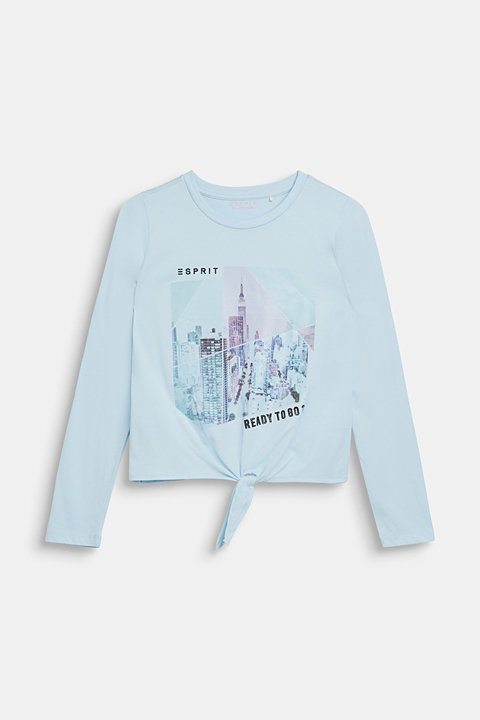 Long sleeve top with a shimmering photo print