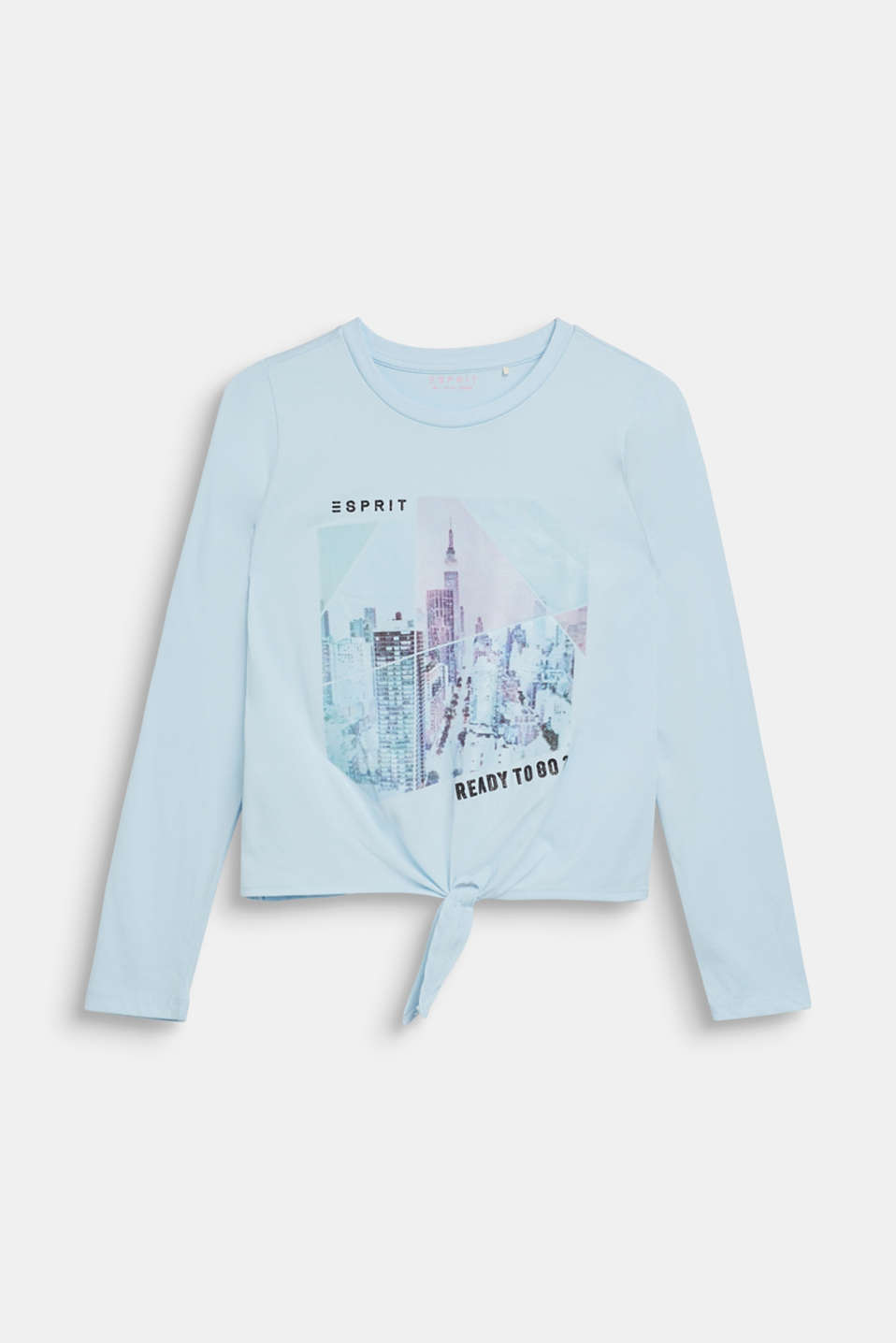 Long sleeve top with a shimmering photo print, LCICE BLUE, detail image number 0