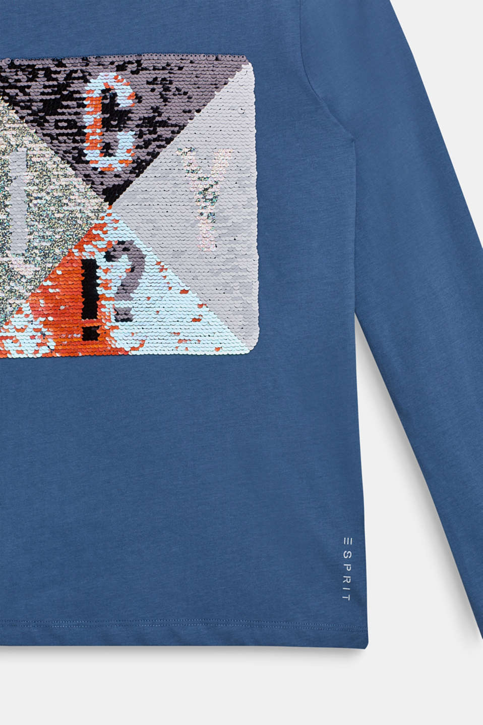 Long sleeve top with reversible sequins, LCDUSK BLUE, detail image number 2