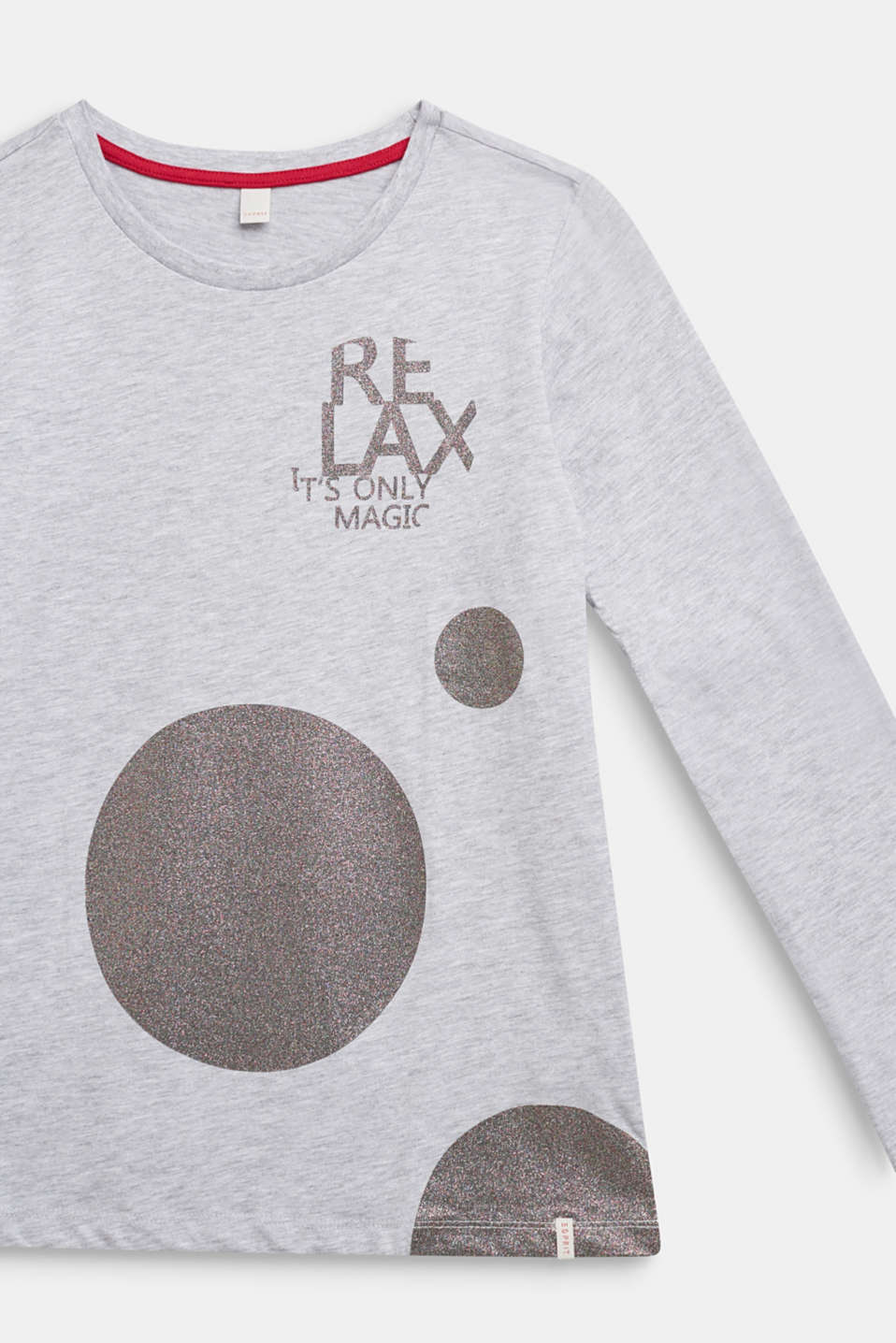Long sleeve top with a glitter print, LCHEATHER SILVER, detail image number 2