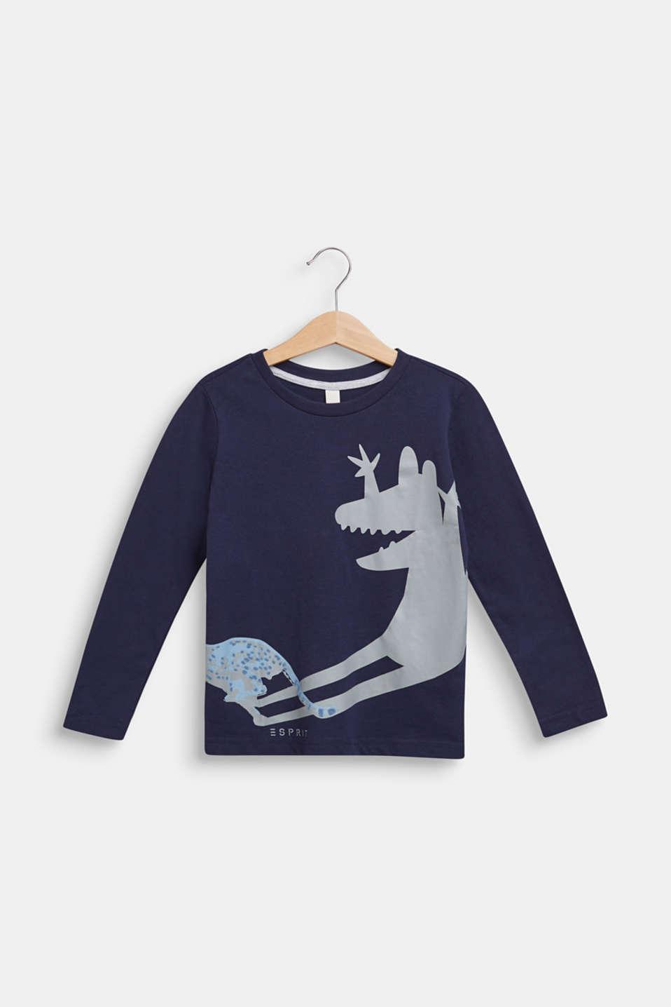 Dinosaur print long sleeve top, 100% cotton, ULTRAMARINE, detail image number 0