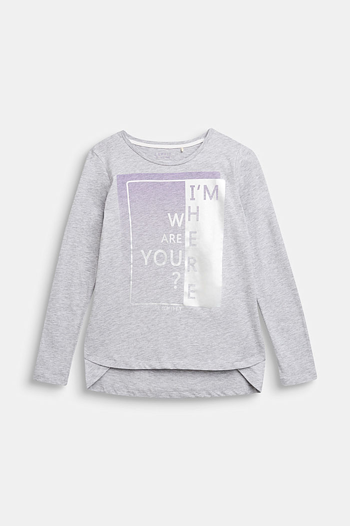 Longsleeve met statement print, LCHEATHER SILVER, detail image number 0