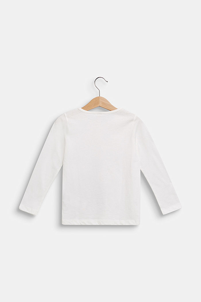 Swan print long sleeve top, 100% cotton, OFF WHITE, detail image number 1