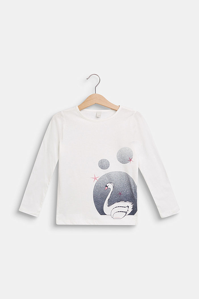 Swan print long sleeve top, 100% cotton, OFF WHITE, detail image number 0