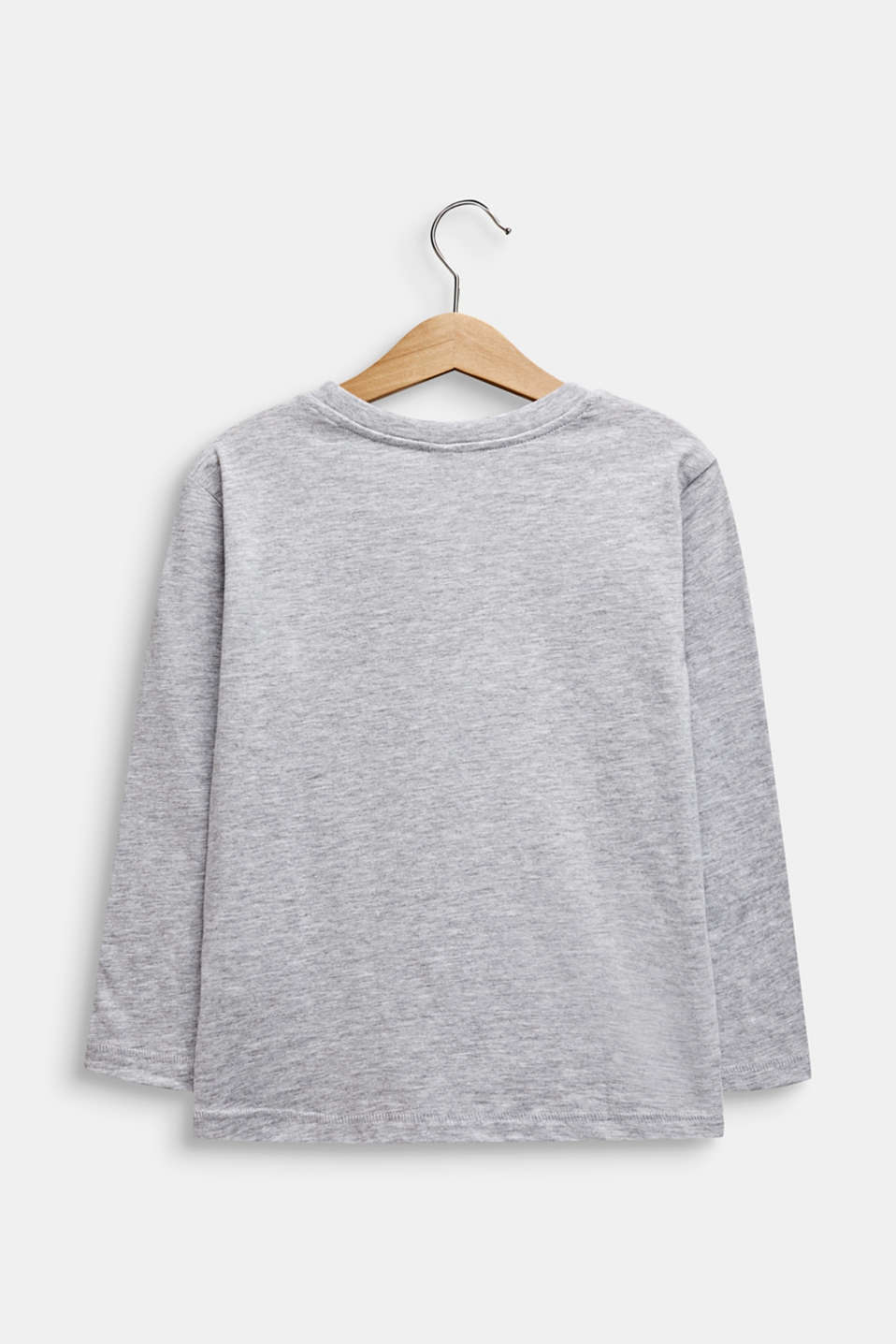 Long sleeve top with a flock print, HEATHER SILVER, detail image number 1