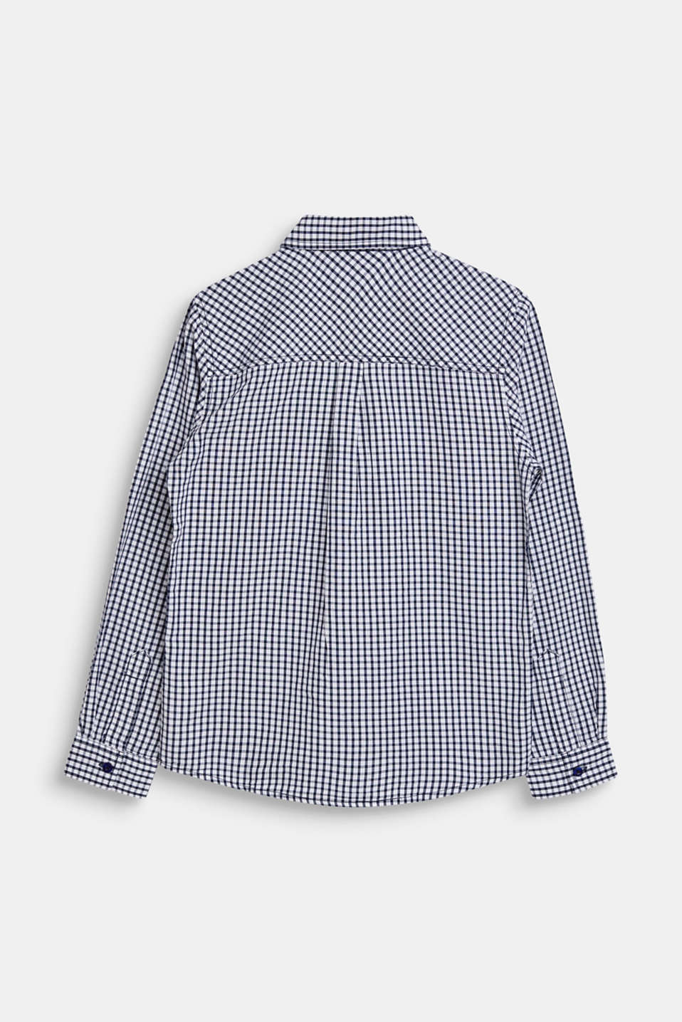 Shirt with a check pattern, 100% cotton, LCNAVY, detail image number 1