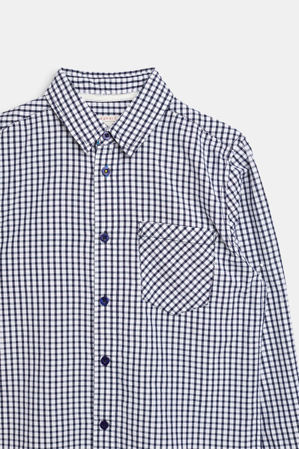 Shirt with a check pattern, 100% cotton, LCNAVY, detail image number 2