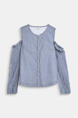 Blouse with cold shoulders, 100% cotton, LCMARINE BLUE, detail