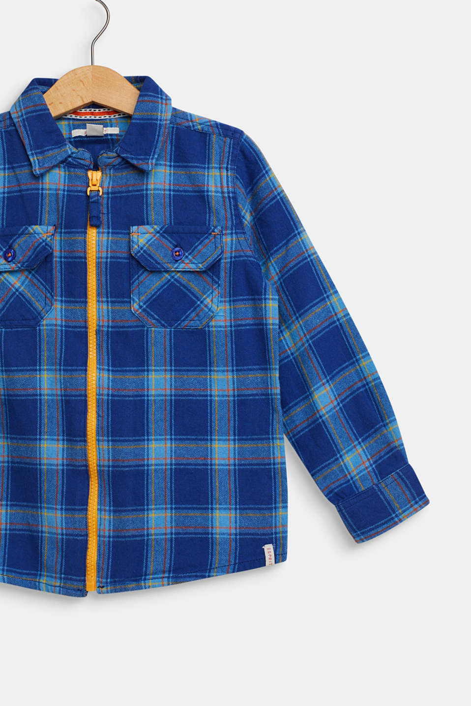 Checked flannel shirt, 100% cotton, indigo, detail image number 3