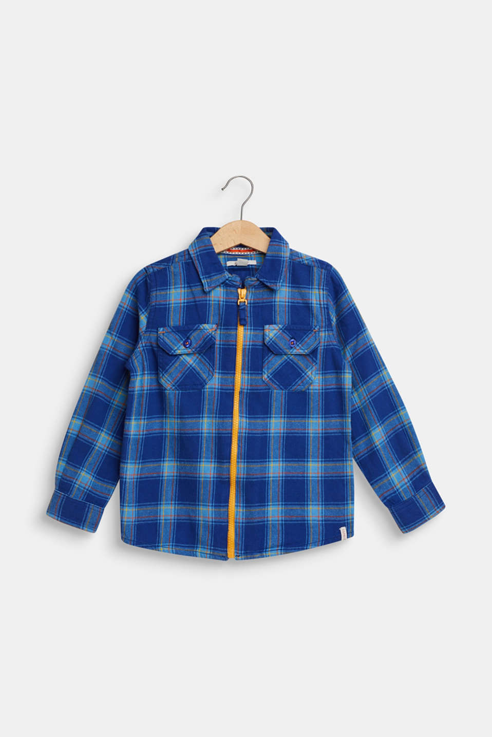Checked flannel shirt, 100% cotton, indigo, detail image number 0