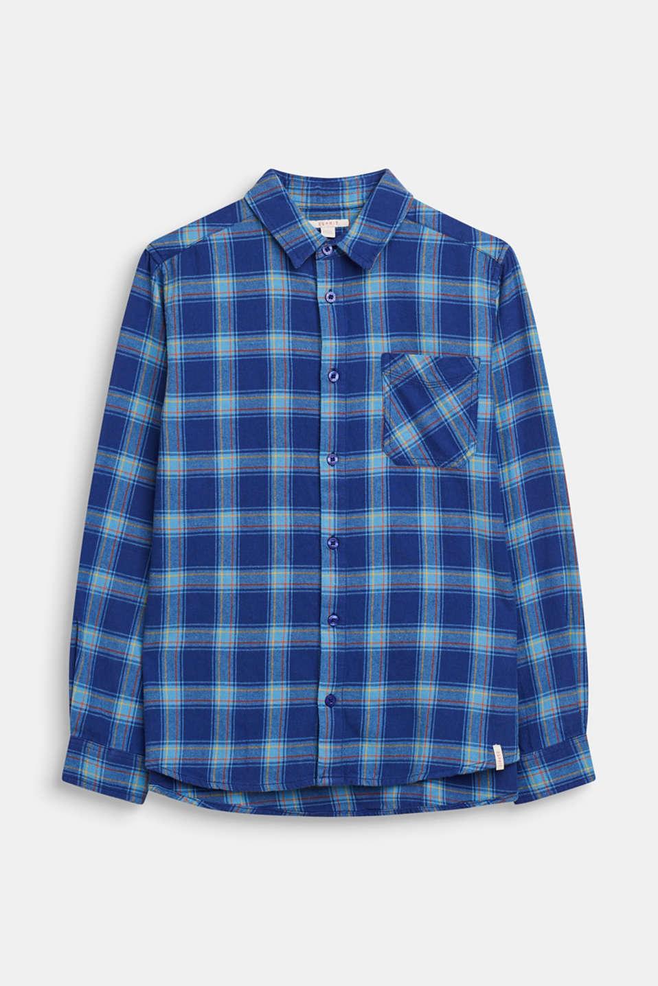 Check shirt in 100% cotton, LCINDIGO, detail image number 0