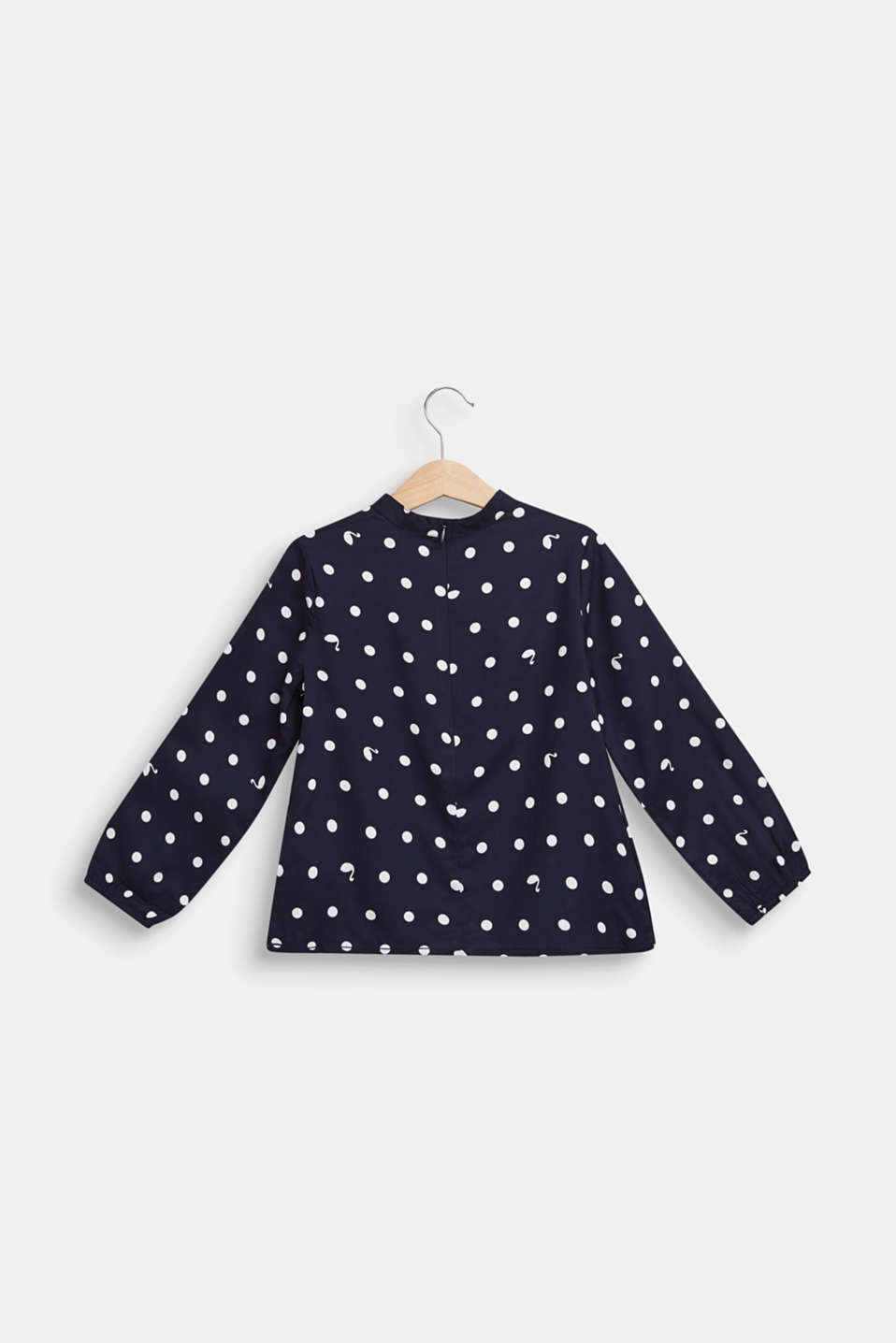 Blouse with a polka dot print and a band collar, NAVY BLUE, detail image number 1
