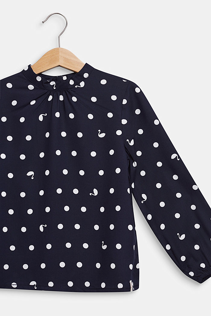 Blusa con stampa a pois e collo a listino, NAVY BLUE, detail image number 2