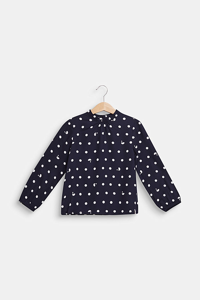 Blusa con stampa a pois e collo a listino, NAVY BLUE, detail image number 0