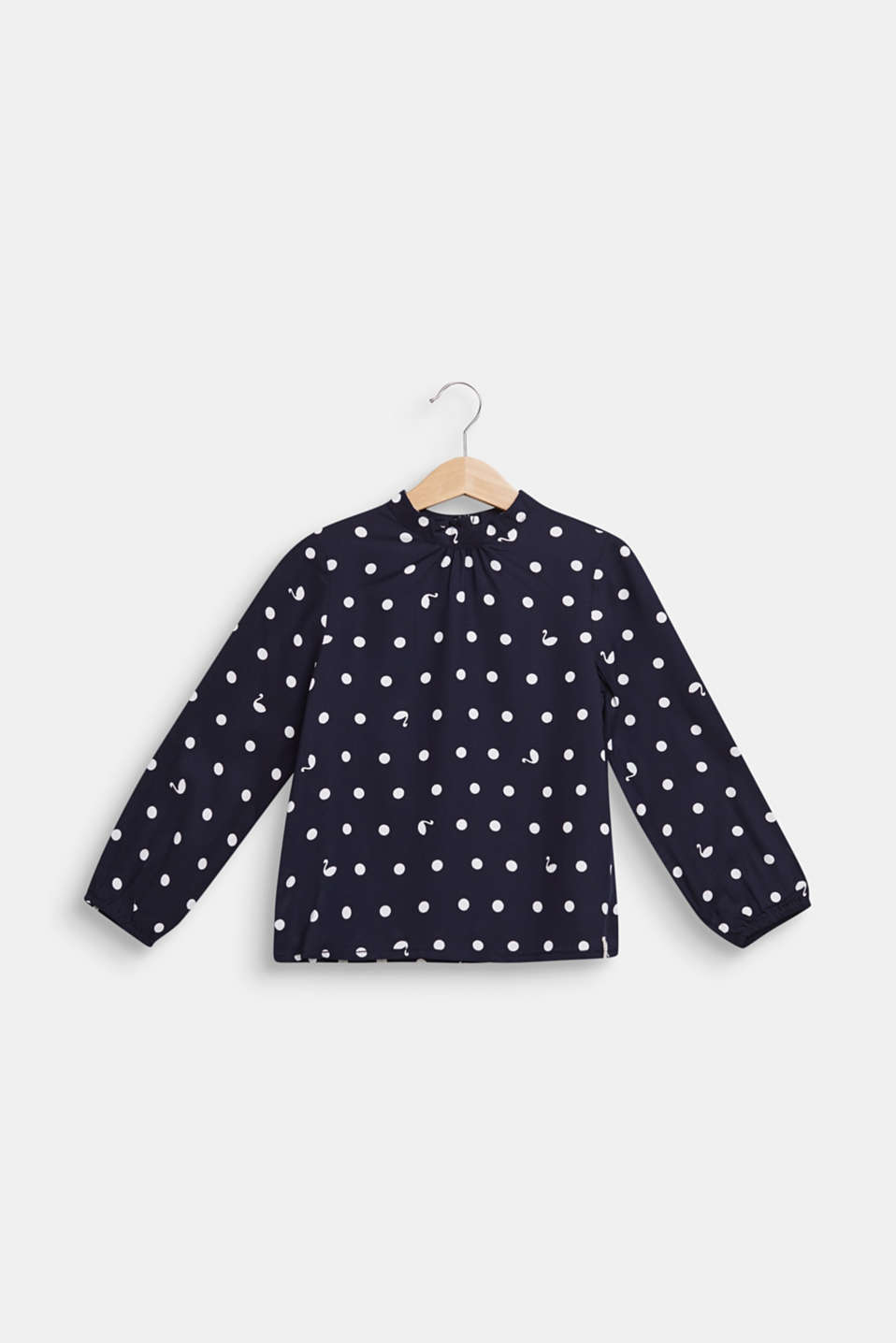 Blouse with a polka dot print and a band collar, NAVY BLUE, detail image number 0