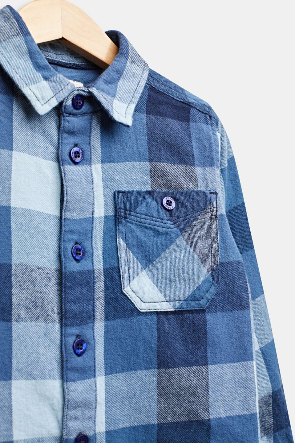 Flannel shirt with checks, 100% cotton, MIDNIGHT BLUE, detail image number 2