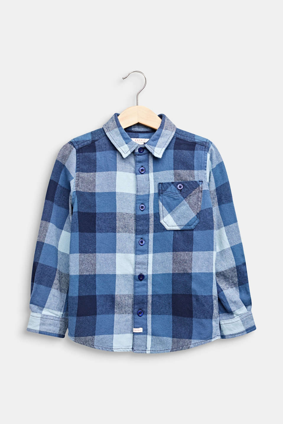 Flannel shirt with checks, 100% cotton, MIDNIGHT BLUE, detail image number 0