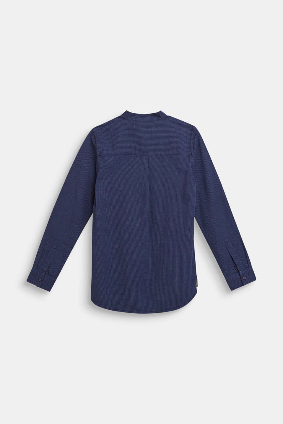 Shirt with band collar, 100% cotton, LCMIDNIGHT BLUE, detail image number 1