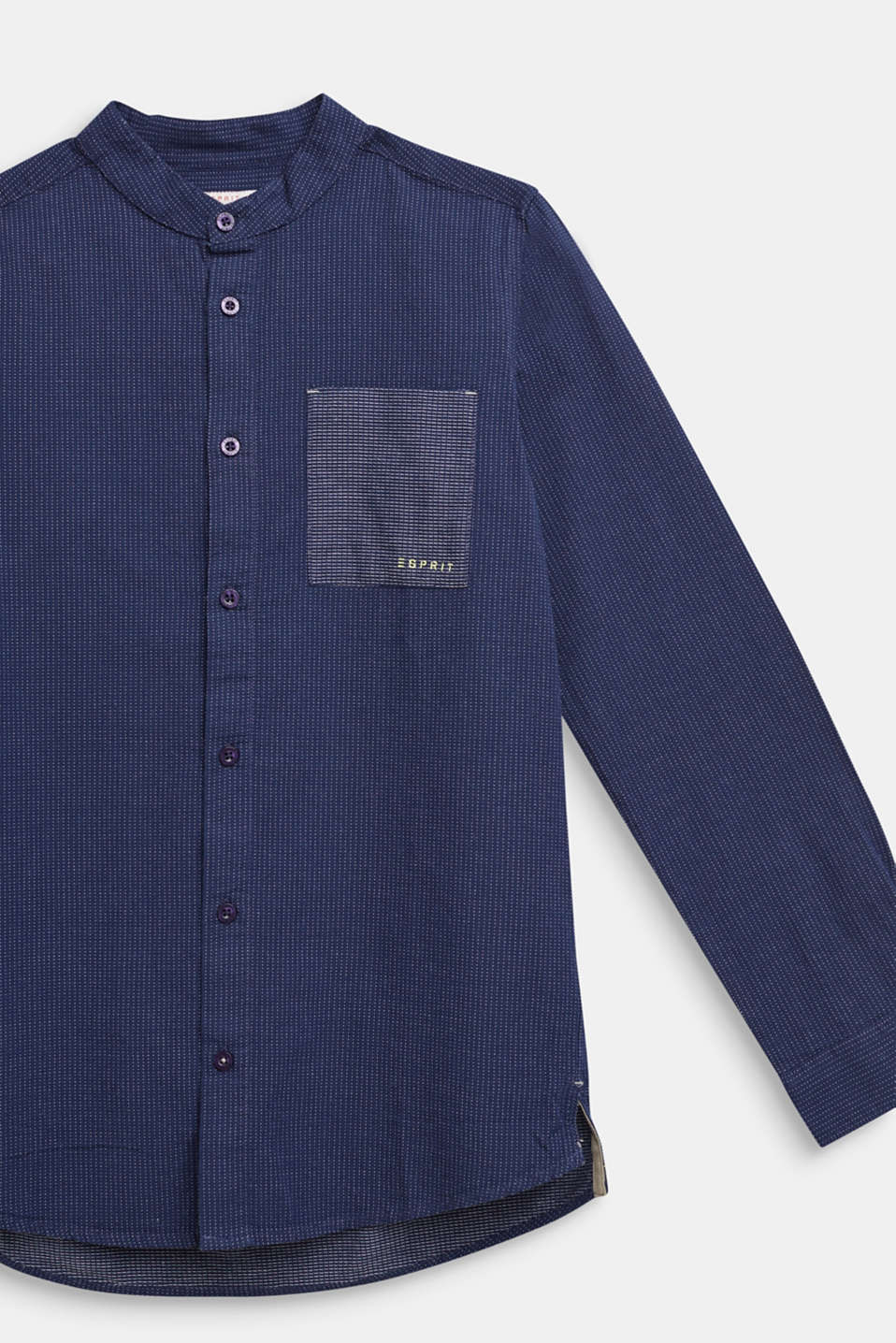 Shirt with band collar, 100% cotton, LCMIDNIGHT BLUE, detail image number 2