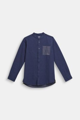 Shirt with band collar, 100% cotton, LCMIDNIGHT BLUE, detail