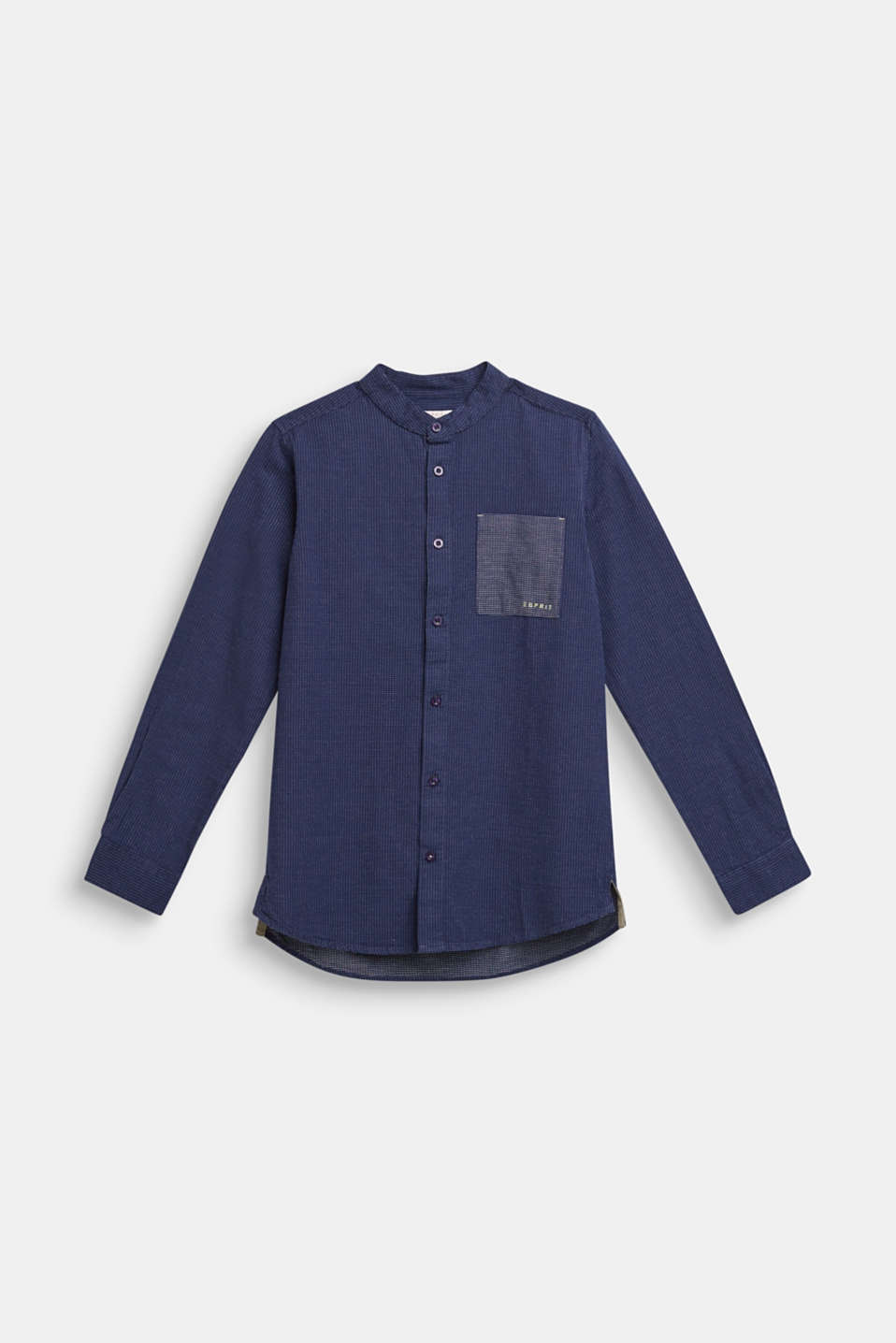 Shirt with band collar, 100% cotton, LCMIDNIGHT BLUE, detail image number 0