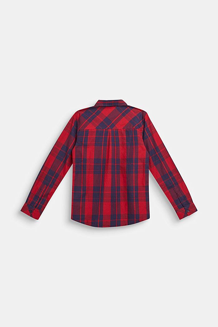 Geruit overhemd van 100% katoen, DARK RED, detail image number 1