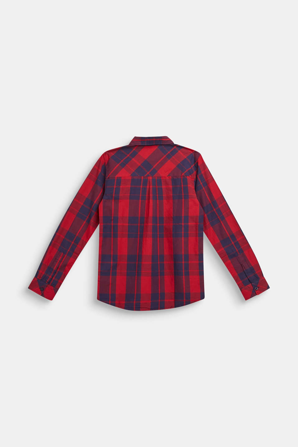 Check shirt in 100% cotton, LCDARK RED, detail image number 1