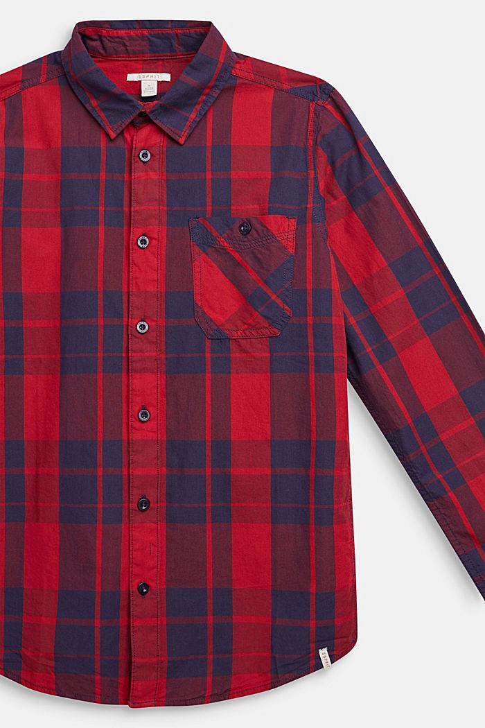 Geruit overhemd van 100% katoen, DARK RED, detail image number 2