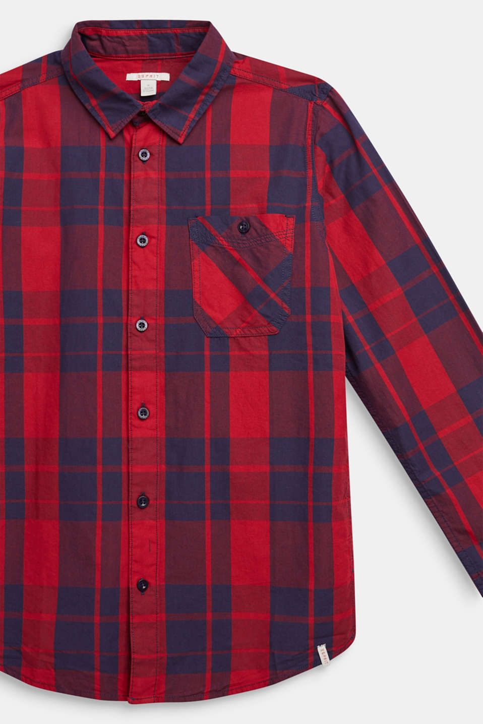 Check shirt in 100% cotton, LCDARK RED, detail image number 2