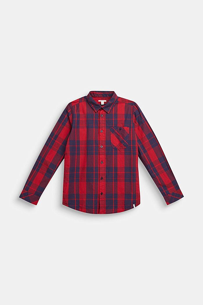Geruit overhemd van 100% katoen, DARK RED, detail image number 0