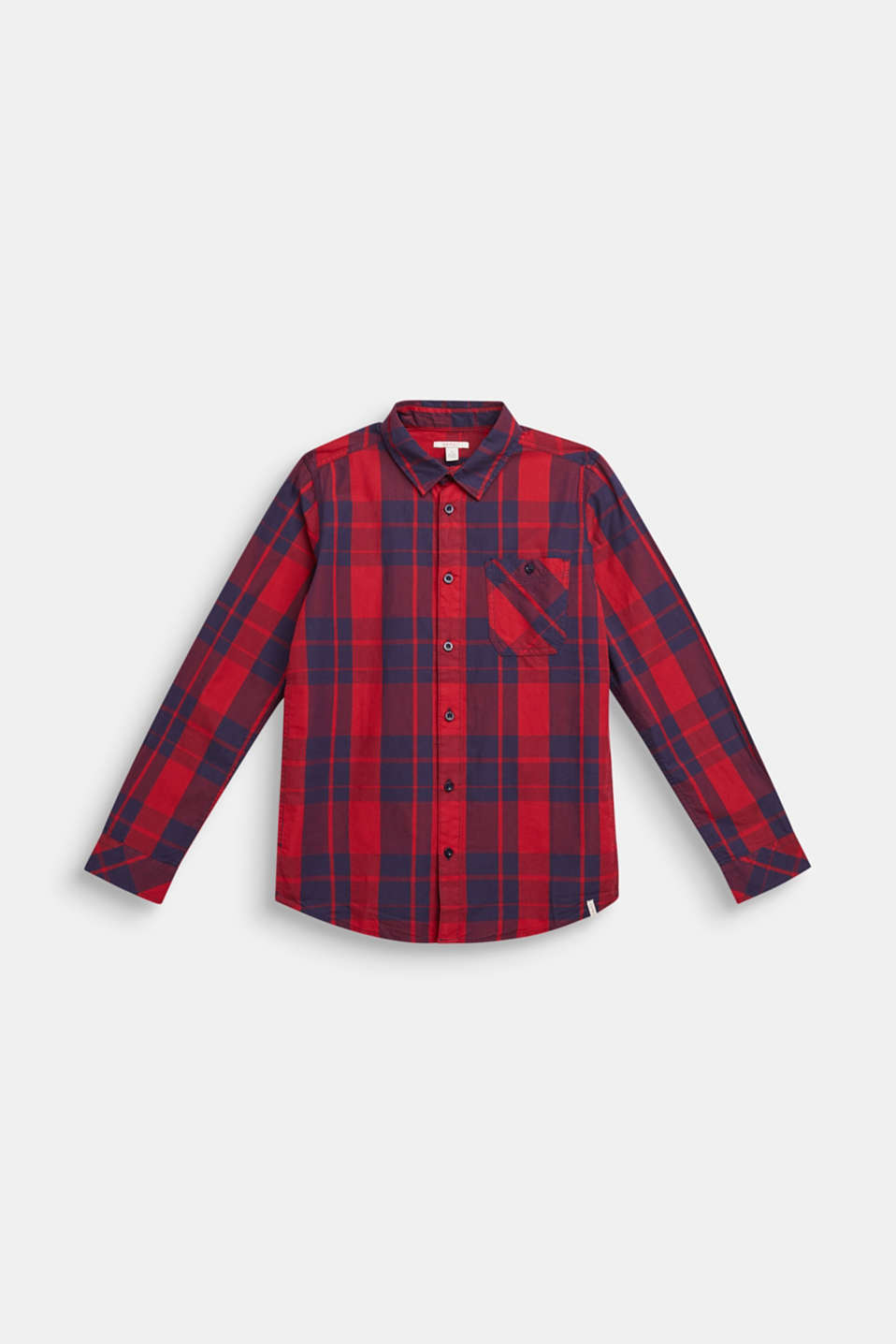 Check shirt in 100% cotton, LCDARK RED, detail image number 0