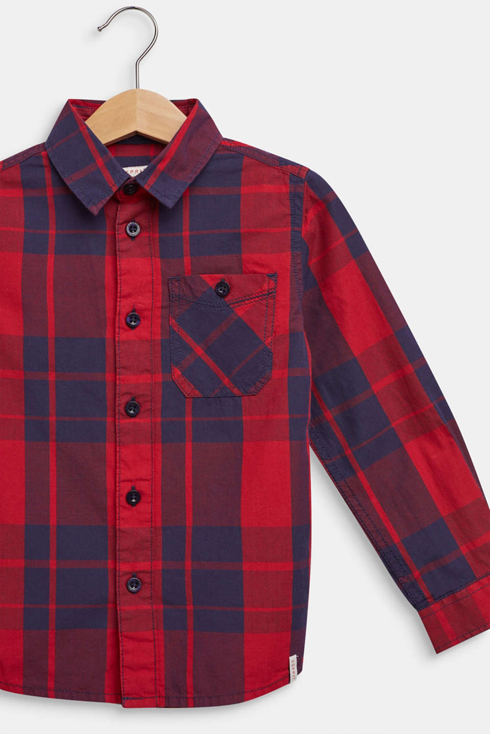 Check shirt in 100% cotton, DARK RED, detail image number 2