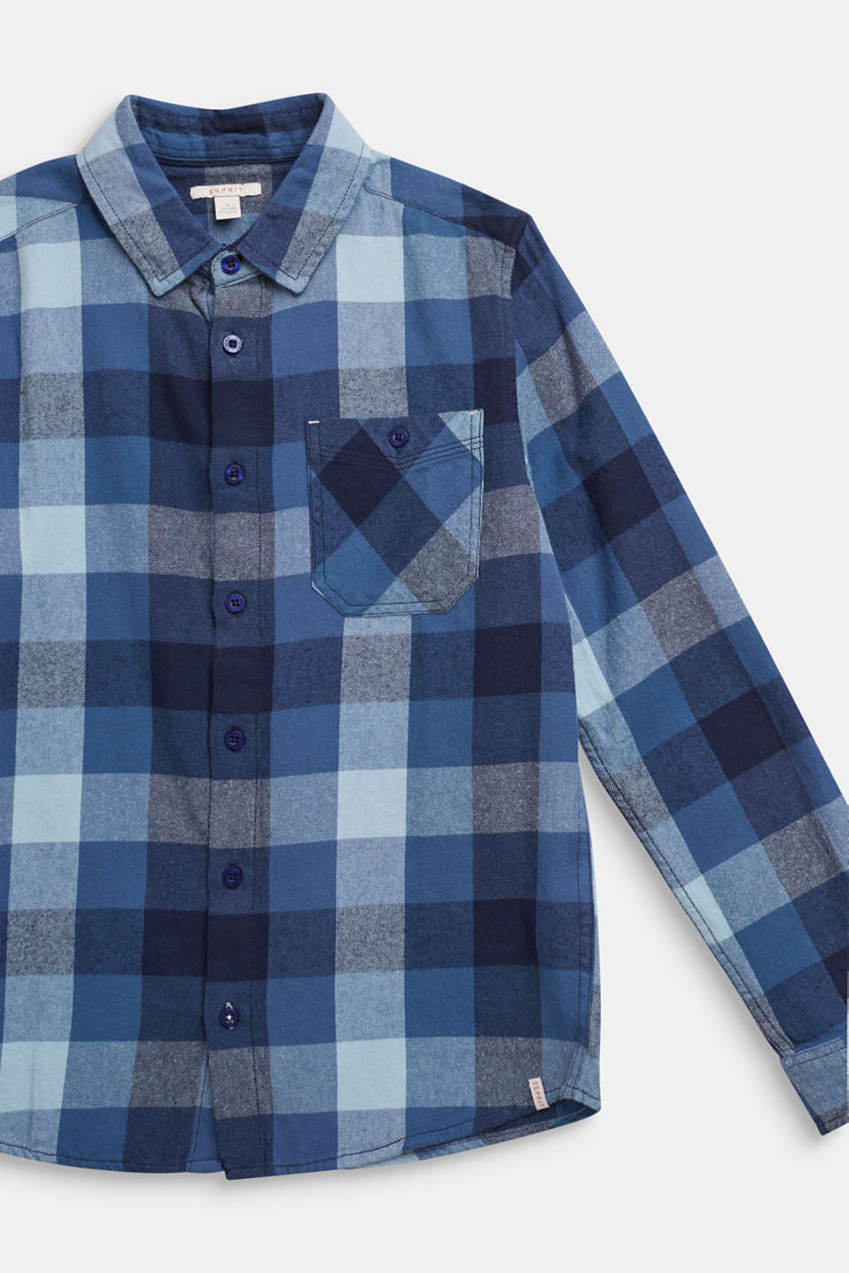 Flannel shirt with checks, 100% cotton, LCMIDNIGHT BLUE, detail image number 2