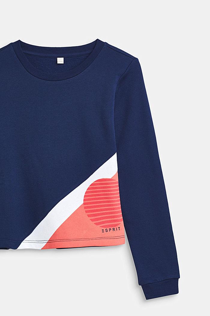 Sweatshirt met colour block design, 100% katoen, MARINE BLUE, detail image number 2
