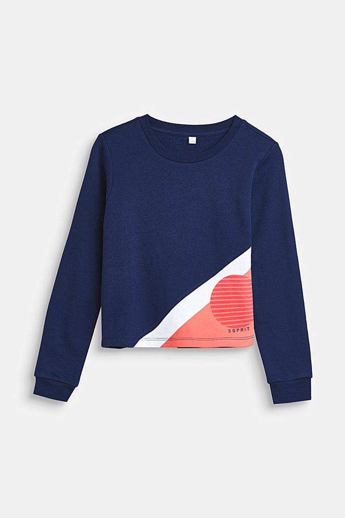 Sweatshirt met colour block design, 100% katoen, MARINE BLUE, detail image number 0
