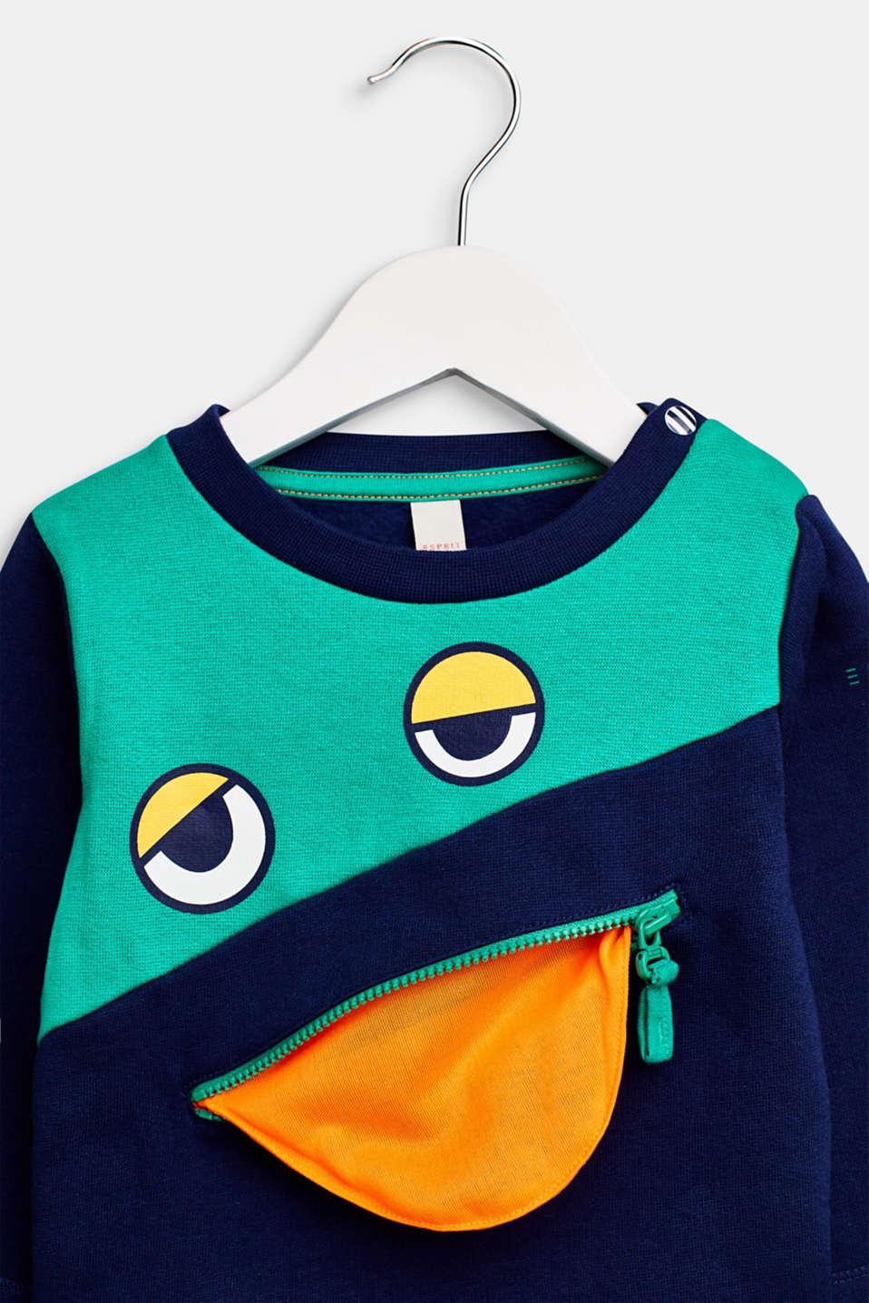Sweatshirt with an eye print, LCMARINE BLUE, detail image number 2